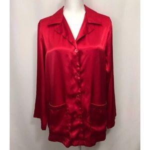 Victoria's Secret Red Pajama Button Down Shirt